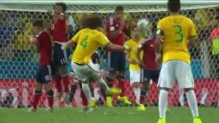David Luiz Free kick 2014 World Cup Brazil vs Colombia 04 07 2014 HD
