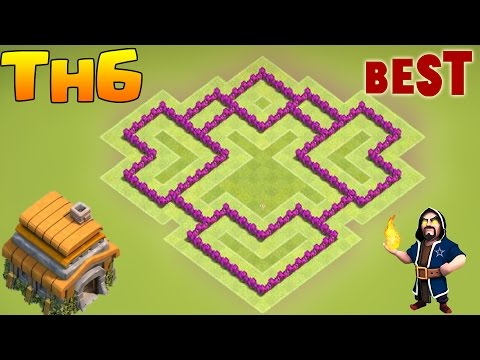 Clash of Clans New Town Hall 6 Defense (CoC TH6) BEST Hybrid / Trophy Base Layout 2017