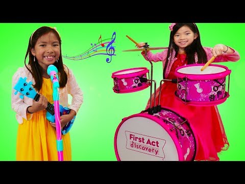 Emma & Wendy Pretend Play with Musical Instrument Toys for Kids & Sing Nursery Rhymes