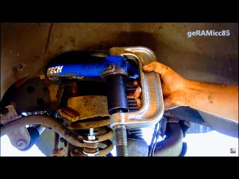 BALL JOINTS REPLACEMENT DODGE RAM  HOW TO PRESS IN UPPER + LOWER  REMOVE REPAIR & INSTALL DETAIL