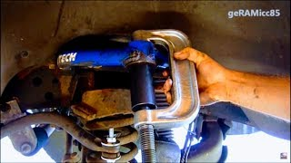 BALL JOINTS REPLACEMENT ON DODGE RAM | HOW TO PRESS IN UPPER+LOWER | REMOVE,REPAIR,INSTALL IN DETAIL