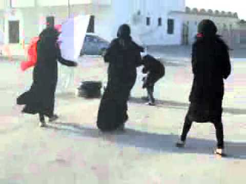 Shameful Young Girl's Burning Tires Bahrain!