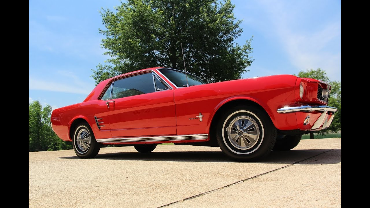 hd video ford mustang 6 cylinder restored red for sale see. Black Bedroom Furniture Sets. Home Design Ideas