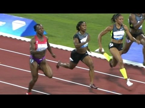 Allyson Felix dips down in distance to run a meet record 10.92 in the 100m