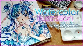 Watercolor Timelapse Anime girl - speedpaint