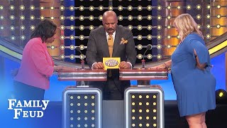 Guys, wait till after the DIVORCE before telling her THIS... | Family Feud
