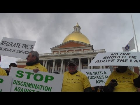 Taxi Drivers Protest for Uber Legislation in Boston