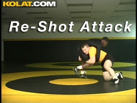 Re-Shot Post Double Leg KOLAT.COM Wrestling Techniques Moves Instruction Image 1