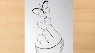 Play this video Pencil drawing of have with beautiful butterflybutterflydrawing