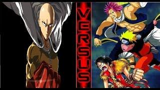 Saitama vs Natsu Naruto and MOnkey D Luffy!