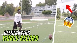 Deestroying Breaks The WORLD RECORD For Longest Field Goal While BLINDFOLDED 😳