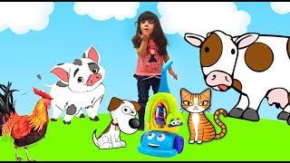 Пылесос учит названия домашних животных на английском. Английский для детей. English for children