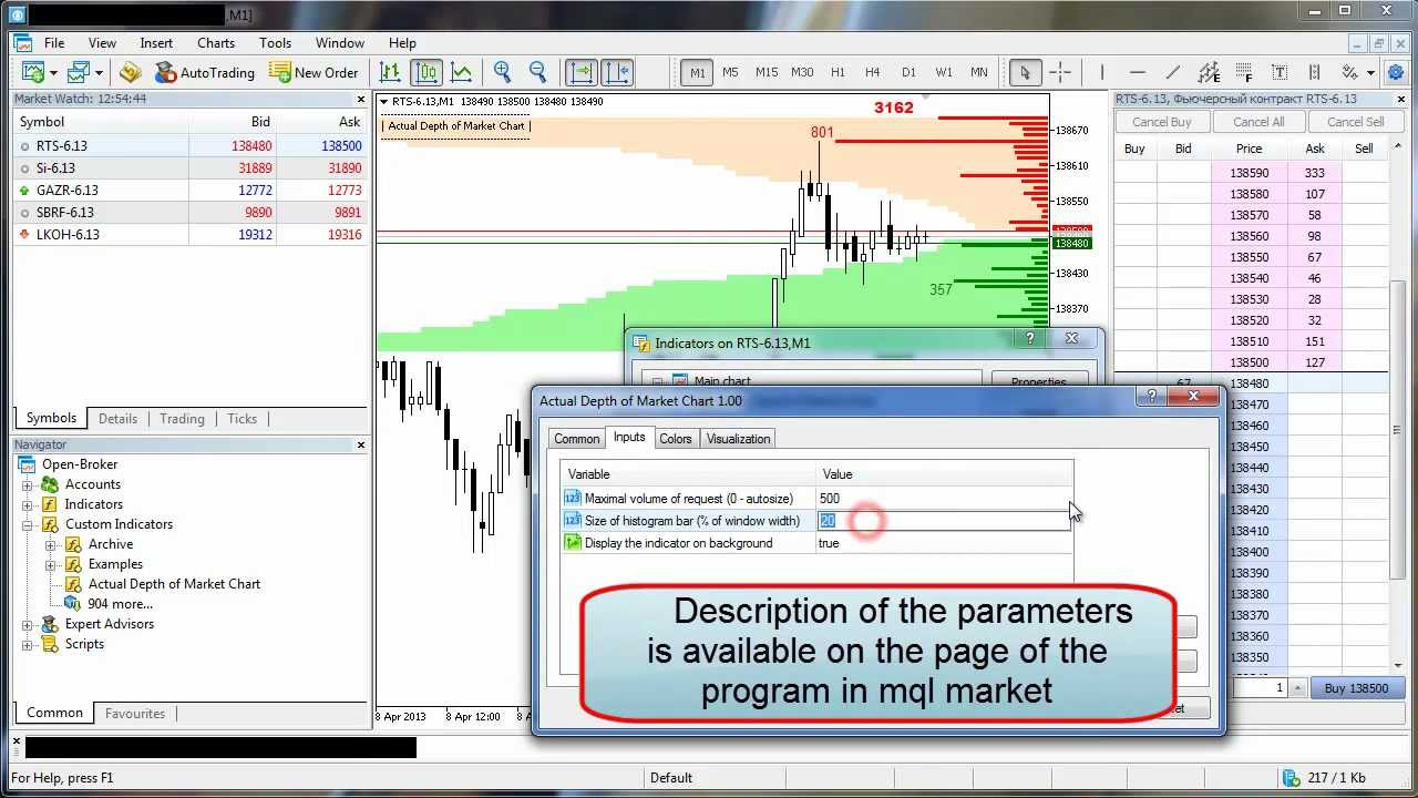 Forex market depth data provider