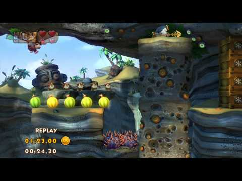 DKC Tropical Freeze 4-5 Sea Stack Attack Speed Run - 1:00.29