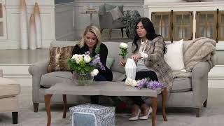 Peonies and Wisteria Floral Arrangement w/ Greenery Vase by Peony on QVC