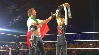 AJ Styles celebrates with the WWE Universe in Milan, Italy