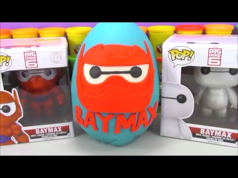 Giant Armor Baymax Play Doh Surprise Egg Big Hero 6 Toys with Disney Vinylmations Legos Marvel Toys