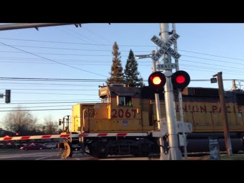 Union Pacific Freight Train #2067 and Light Rail train at Horn Rd Railroad Crossings