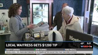 Waitress gets anonymous $1,200 tip