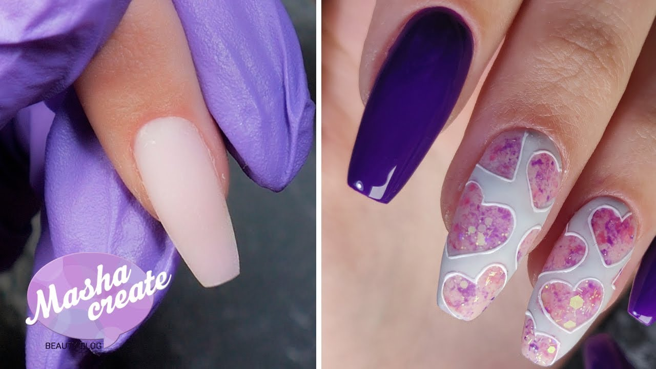 Ногти Балерина и Укрепление ногтей акриловой пудрой: тонко и надежно. Маникюр с сердечками