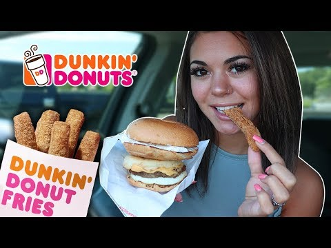 TRYING DUNKIN DONUTS NEW DONUT FRIES! | MUKBANG! thumbnail