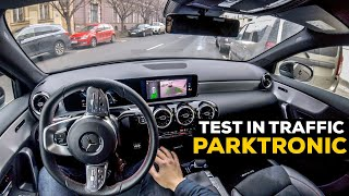 MERCEDES A CLASS 2019 ACTIVE PARKING ASSIST TEST IN TRAFFIC PARKTRONIC