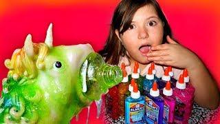 3 Colors of Glue Slime Challenge W/ MY PET UNICORN BLOBBY!