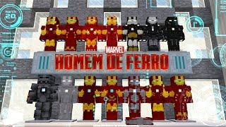 TODAS AS ARMADURAS DO HOMEM DE FERRO no MINECRAFT (mod do iron man)