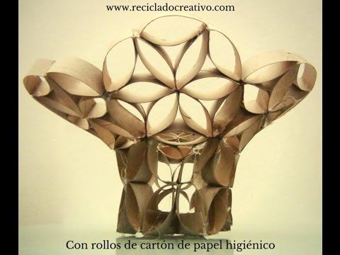 Cómo hacer un Florero Frutero con tubos de rollos de papel higiénico-Vase with