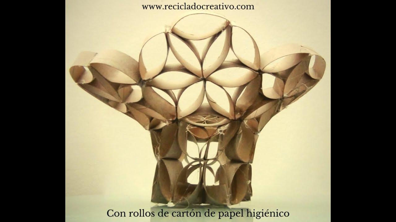 C mo hacer un florero frutero con tubos de rollos de papel for Colgadores para papel higienico