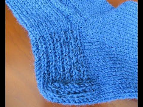 Как вязать пятку носка.  Вариант 1: «Прямая пятка»