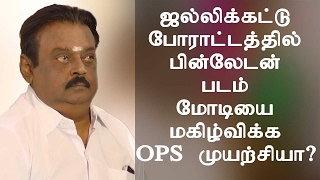 Jallikattu Protest - Bin Laden Photo Modi tried to entertain the OPS? Vijayakanth