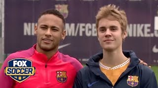 Justin Bieber and Neymar have a kick around at Barcelona training  | @TheBuzzer | FOX SOCCER