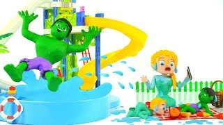 HULK HAVE FUN AT THE WATER PARK ❤ Spiderman, Hulk & Frozen Elsa Play Doh Cartoons For Kids