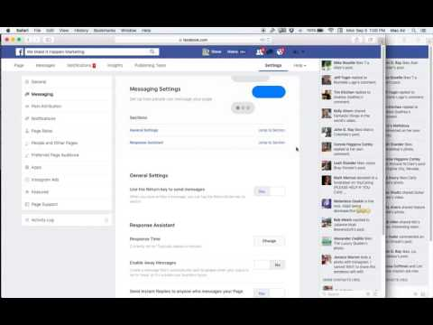 FB Business Page Message Settings