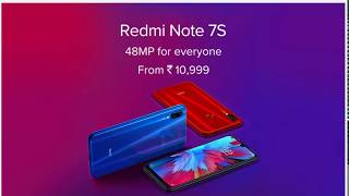 Redmi Note 7s New Launch |3GB&4GB|32GB&64GB|Black|Red|Blue| Rs10999&Rs12999|4000 mAh|48MP+5MP13MP