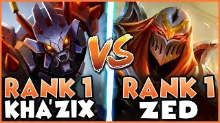 WHEN RANK 1 KHA'ZIX GOES UP AGAINST RANK 1 ZED LL STYLISH - League of Legends
