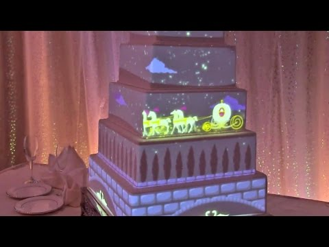 Interactive wedding cake projection mapped from Disney Fairytale Weddings