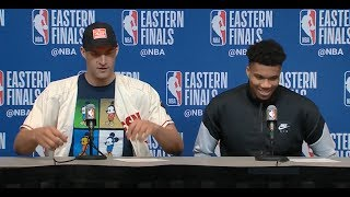 Giannis Antetokounmpo & Brook Lopez Postgame Press Conference | Raptors vs Bucks Game 1