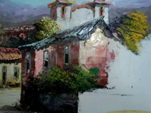 Video aula curso de pintura em tela espatulado com tinta for Pintura acrilica moderna