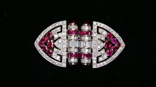 Art-Deco ruby and diamond double-clip brooch - Joanna Hardy and Bentley & Skinner