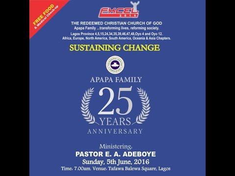 RCCG APAPA FAMILY EXCEL 2016 with Pastor E.A Adeboye 05-06-2016