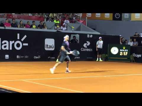 Fabio Fognini beats Rafael Nadal in Rio Open 2015. The match-point
