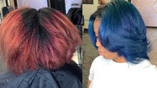 Coloring my clients hair from Red to Blue | Blue hair color