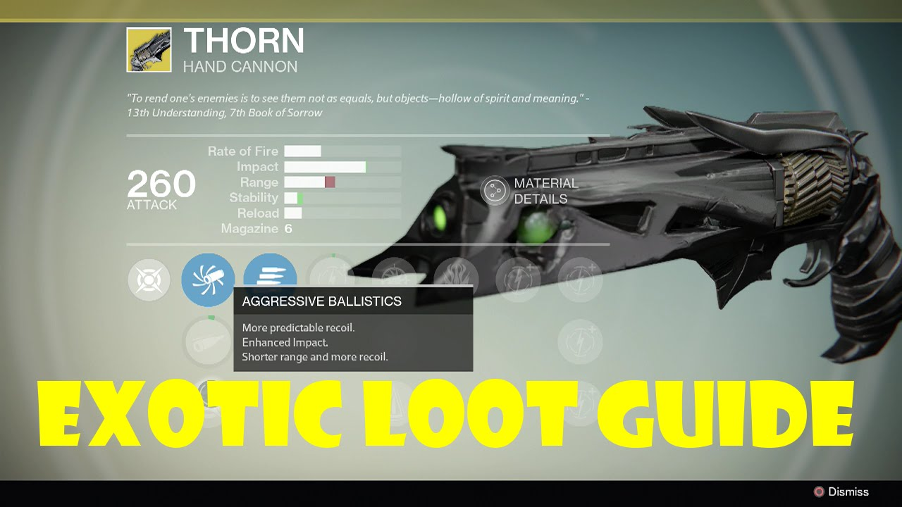 Destiny exotic loot guide quot thorn quot hand cannon youtube