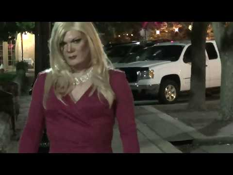 Tgirl Sexy Red Heels Public Nighttime (HD) Matty Caff Tgirl Crossdresser Transvestite