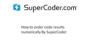 How to order Code Results Numerically by SuperCoder