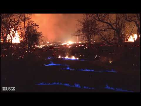 Blue burning flame of methane gas  - Kilauea, Hawaii May 23, 2018