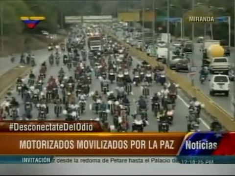 La gran marcha de motorizados rumbo al Palacio de  Miraflores a reunirse con Nicolás Maduro