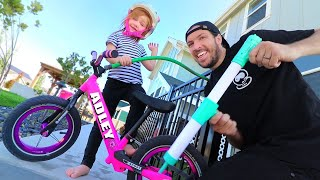 HOW TO FIX A BIKE!! Pretend Play with Dad in our Backyard Gas Station!
